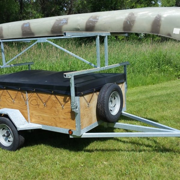 4 place 5x8 24 inch side canoe trailer or kayak trailer with 17ft canoe