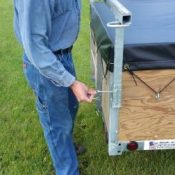 Removing canoe or kayak racks on a 1 or 2 place canoe trailers or kayak trailers